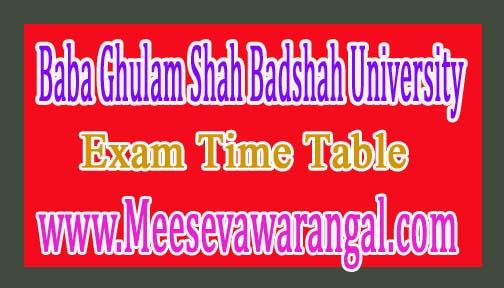 Baba Ghulam Shah Badshah University B.Tech Ist Sem (Regular / Backlog) 2016-17 Exam Time Table