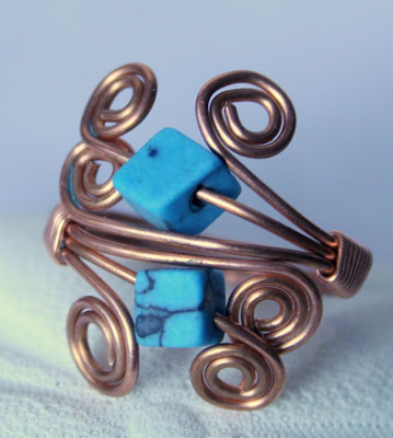 Keanu (Cool mountain breeze): copper & turquoise dyed howlite, ring, wire wrapped, ooak :: All Pretty Things