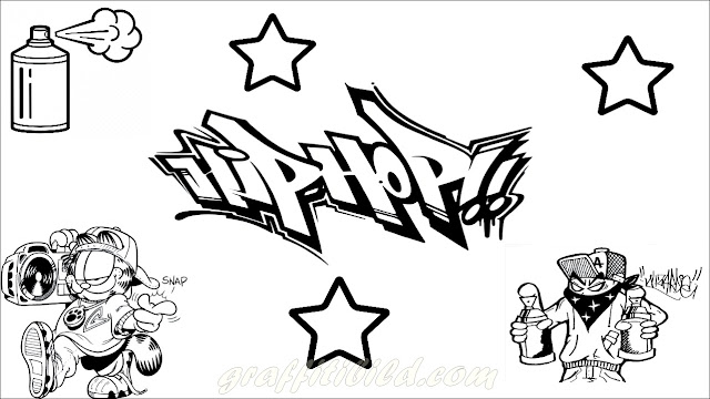 Ausmalbilder graffiti, hiphop, graffiti, coloring page