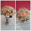 Bunga Bouquet Mawar Peach dan Baby Breath