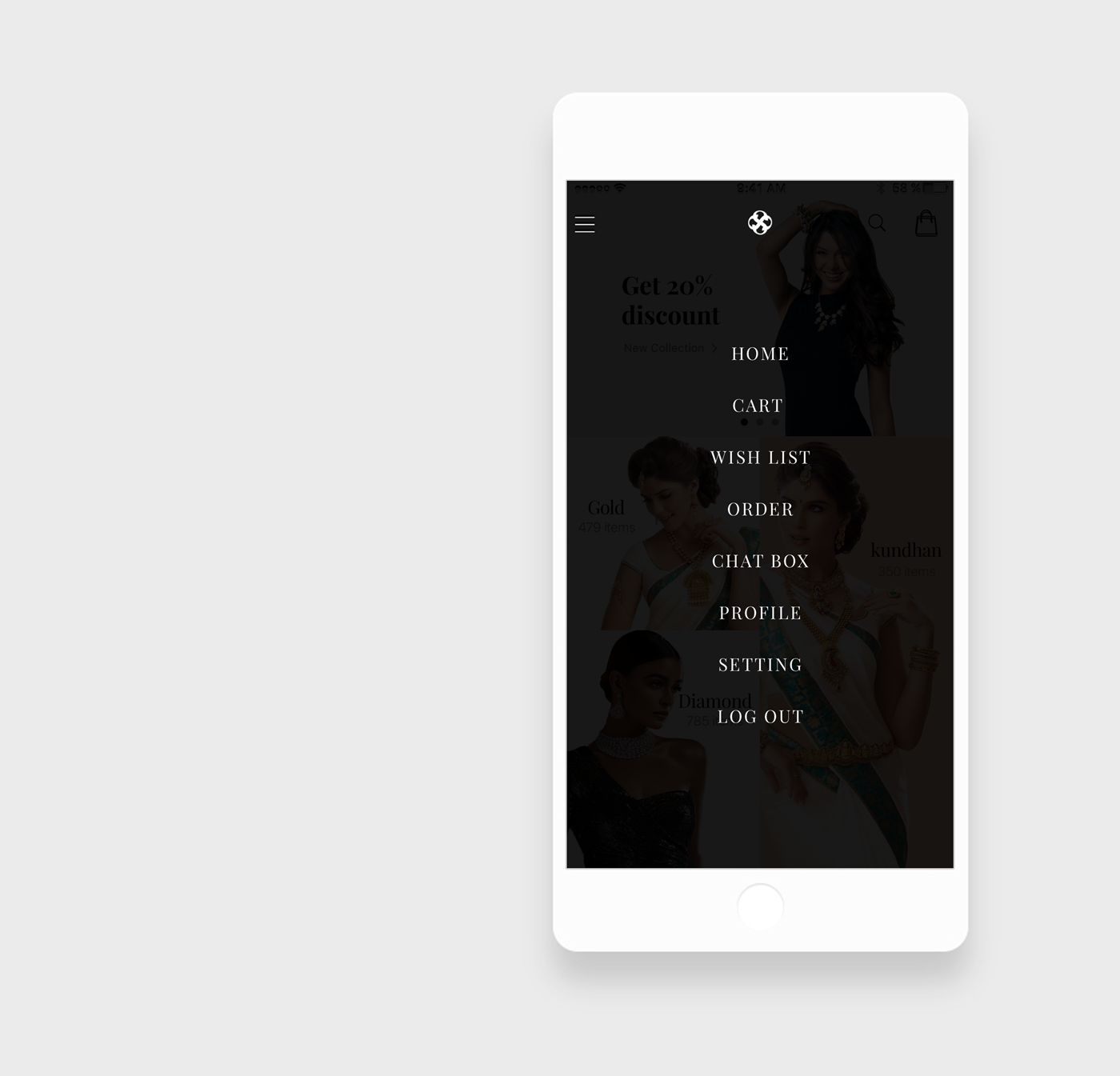 Jewellery App Menu UI