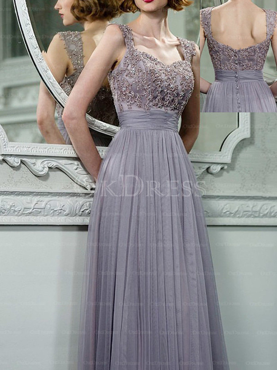 Radiant Covered Button Empire Tulle Long/Floor-length Bridesmaid Dresses