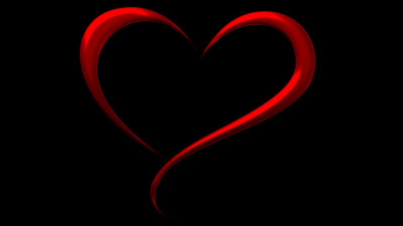 Heart on Black Background. Love Illustration for Valentine's Day