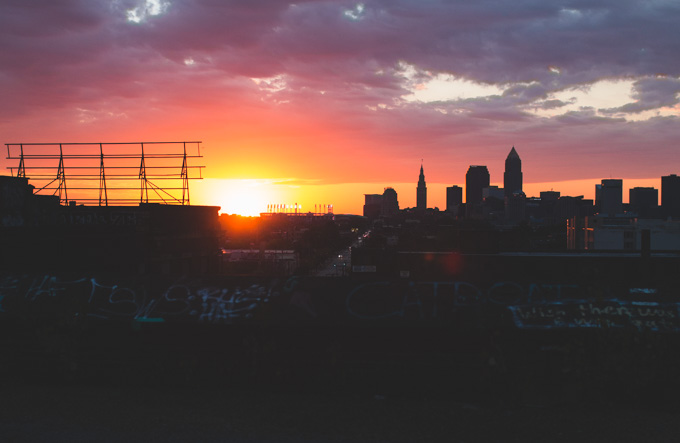 skyline, sunset, cleveland, abandoned