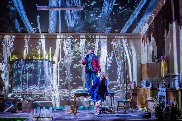 Hansel and Gretel - Opera North - Katie Bray as Hansel and Fflur Wyn as Gretel - Photo Credit: Robert Workman