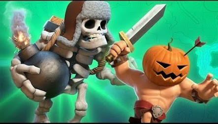 Giant Skeleton dan Pumpkin Barbarian