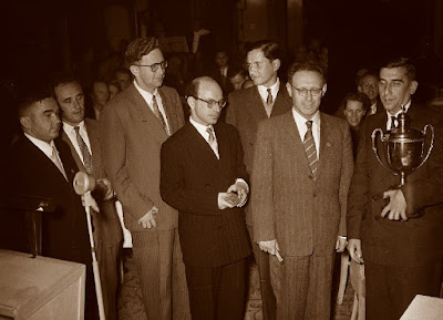 Kotov, Geller, Smyslov, Bronstein, Keres y Botvinnik, Amsterdam 1954
