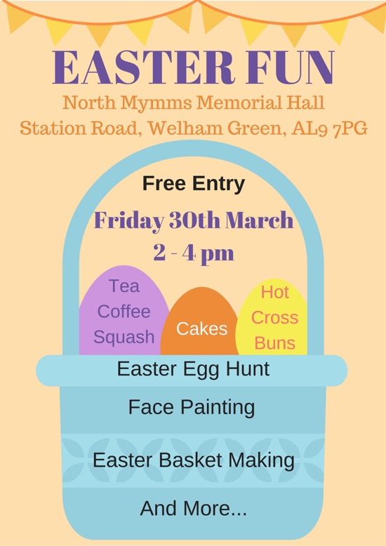 Poster for North Mymms Memorial Hall's Easter Fun Day
