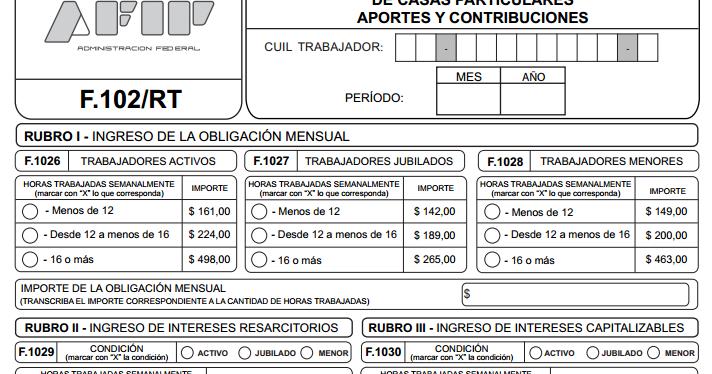 Nuevo Formulario 102 Pago Art Servicio Dom Stico Ignacio