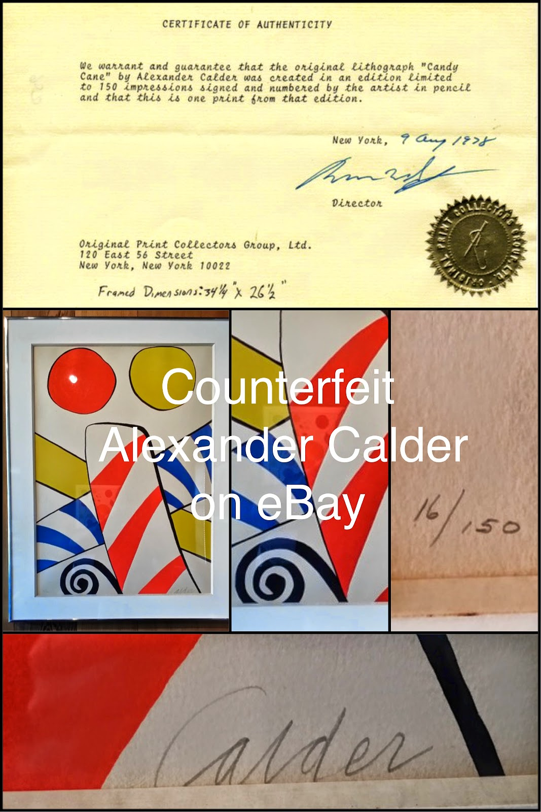 Images used by the-strongman on eBay to offer Counterfeit Calder