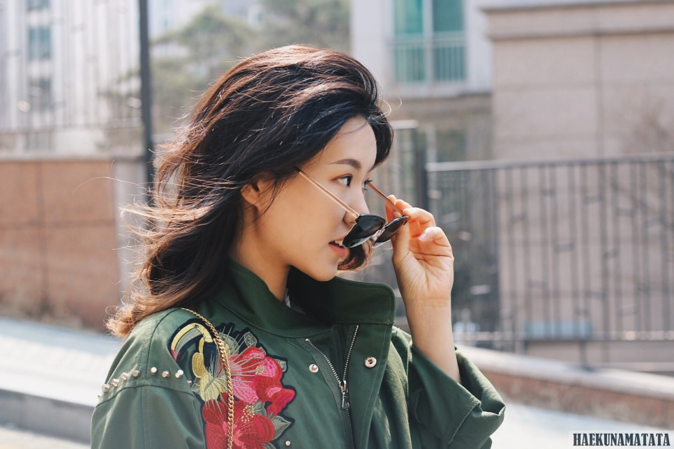 ZARA Embroidered Military Jacket, White Ruffle Floral Dress, CARIN Sunglasses
