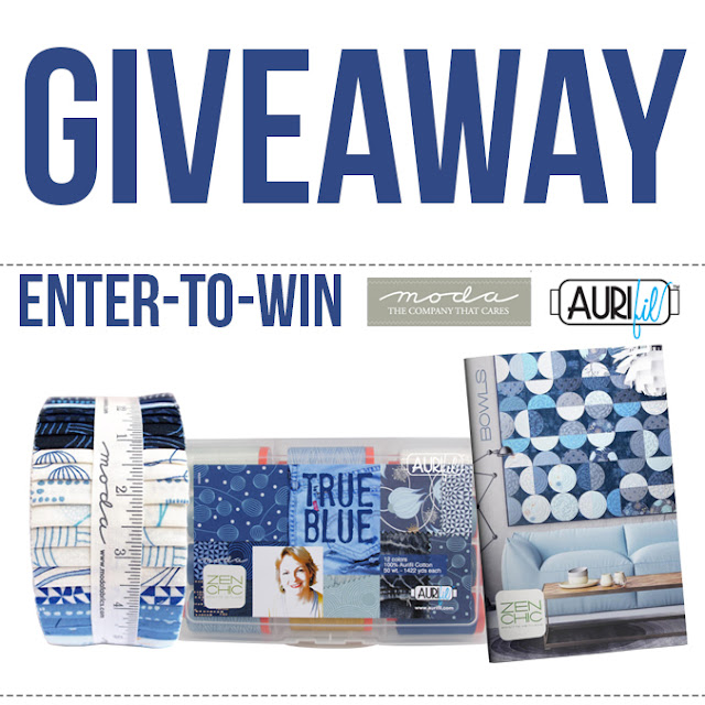 Giveaway from Aurifil Threadbox Jelly Roll True Blue and Zen Chic pattern
