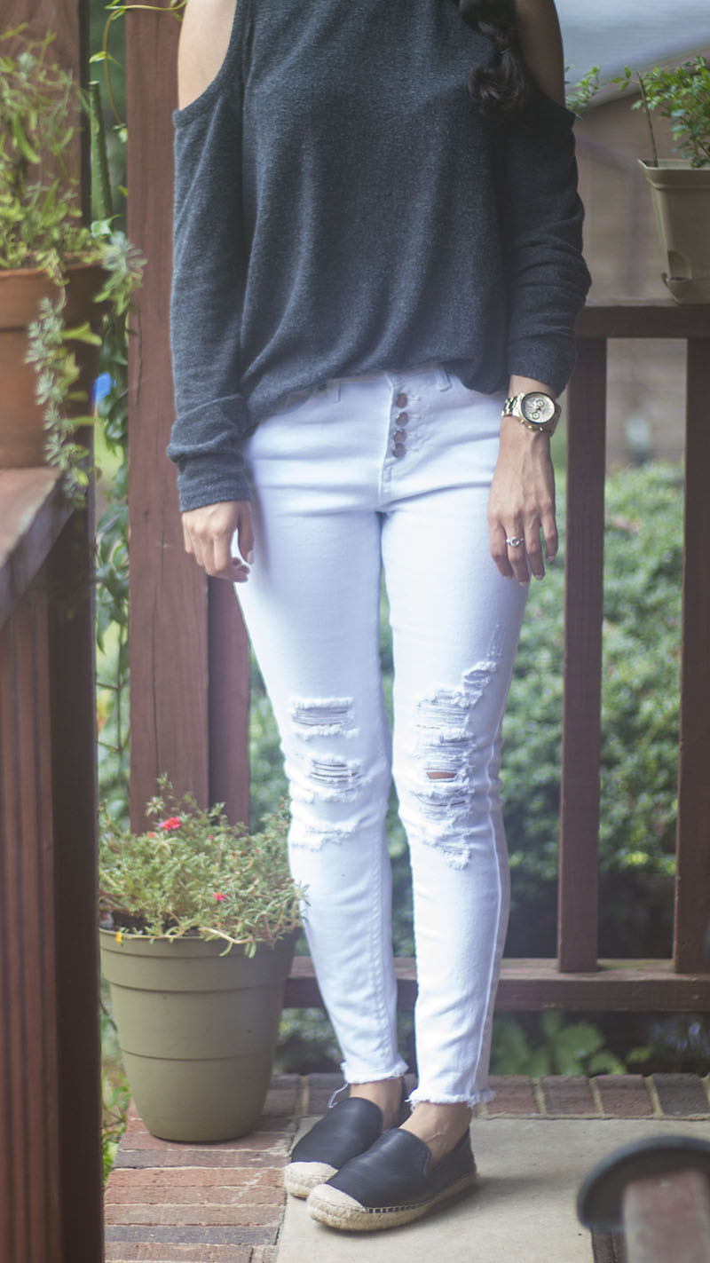 ripped white jeans and cold shoulder top outfit
