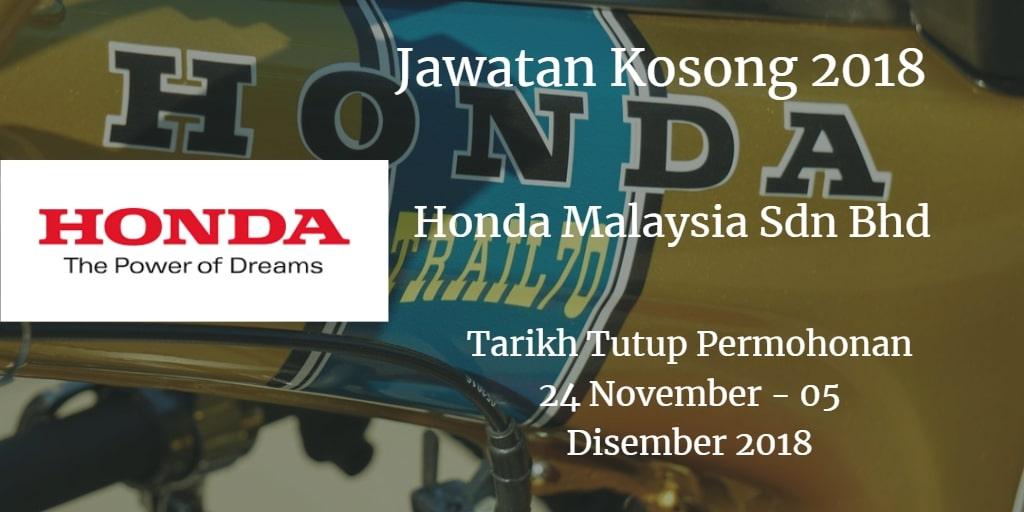 Jawatan Kosong Honda Malaysia Sdn Bhd 24 November - 05 Disember 2018