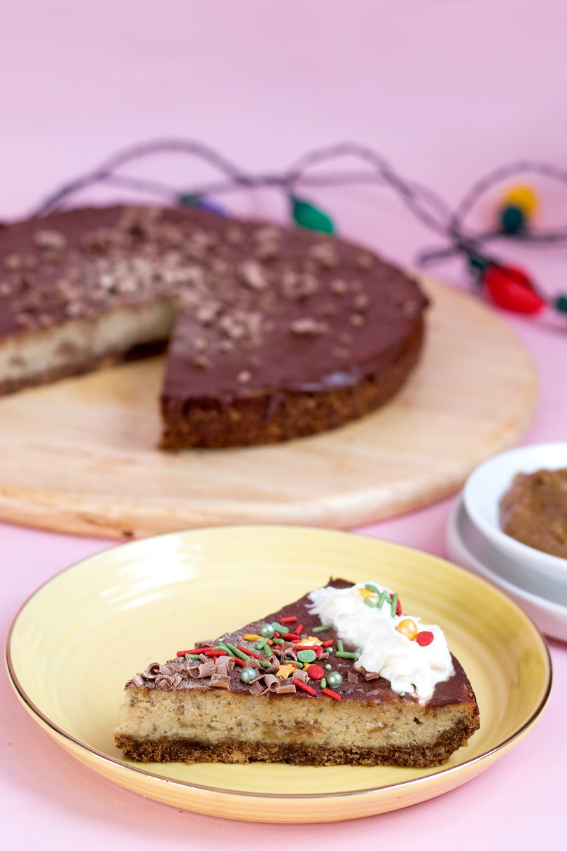 vegan chocolate caramel cheesecake