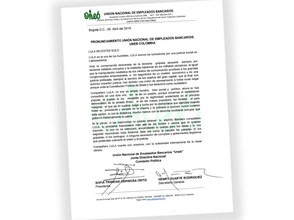 Pronunciamiento UNEB. Lula no está solo