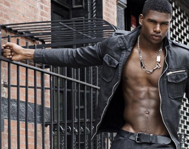 Broderick Hunter in skinny black jeans shirtless