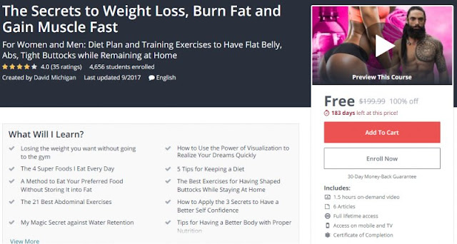 [100% Off] The Secrets to Weight Loss, Burn Fat and Gain Muscle Fast| Worth 199,99$
