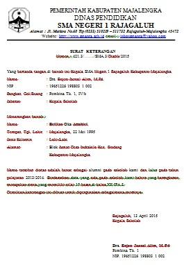 Contoh Surat Pernyataan Dispensasi Simak Gambar Berikut