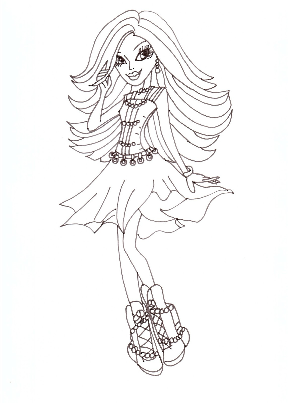Free printable monster high coloring pages spectra for Monster high color pages free