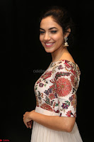 Ritu Varma smiling face Cream Anarkali dress at launch of OPPO New Selfie Camera F3 ~  Exclusive 034.JPG