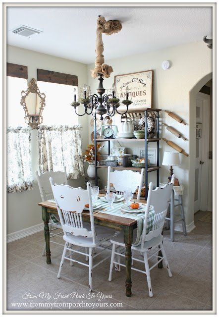 Breakfast Nook-Farmhouse Style-French Country-Vinateg Style- Fall Kitchen-From My Front Porch To Yours