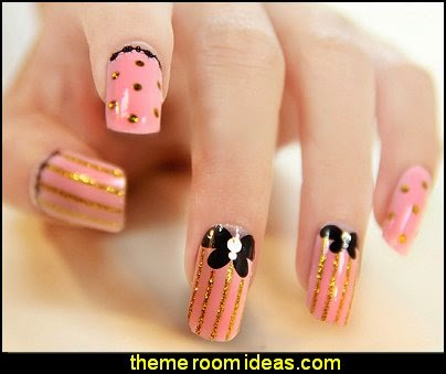 pink black nail design-pink black gold nail design ideas