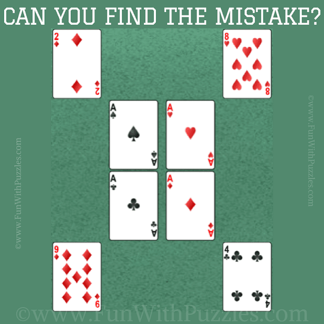 It is mistake finding fun brain picture riddle in which one has to find the error in the given cards