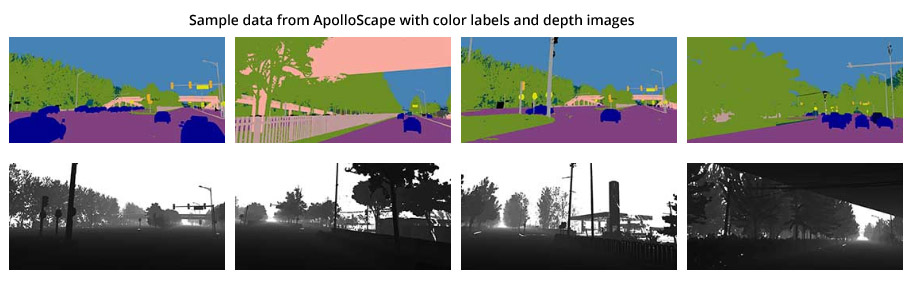 Sample data from ApolloScape with color labels and depth images