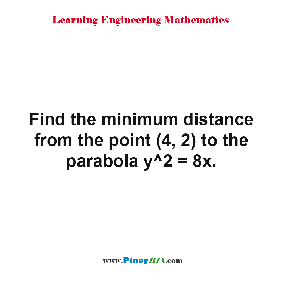 Find the minimum distance from the point (4, 2) to the parabola y^2 = 8x.