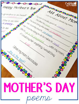 Poems make a wonderful Mother's Day gift!  This resource includes a variety of poems for moms, grandmas and aunts.  Fun for kids to write and color in!