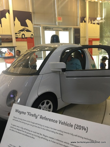 Waymo self-driving vehicle from 2014 at Computer History Museum in Mountain View, California