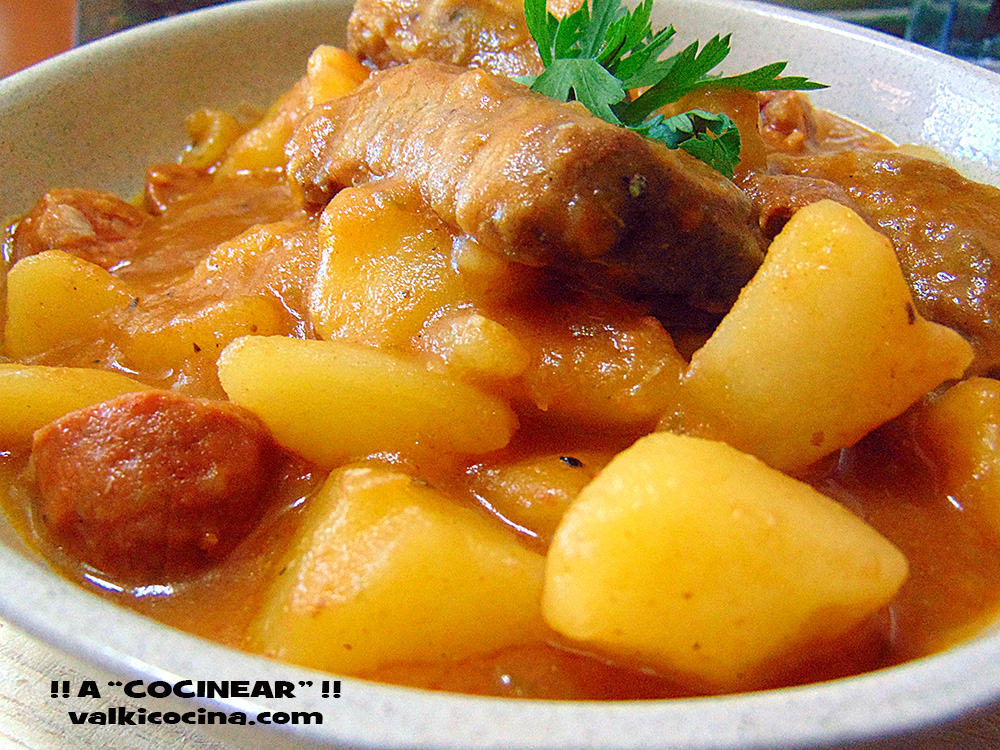 Patatas guisadas con costilla o magro de cerdo a cocinear recetas - Lentejas con costillas y patatas ...