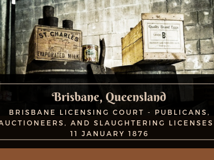 Brisbane Licensing Court - Publicans, Auctioneers, and Slaughtering Licenses - 11 January 1876
