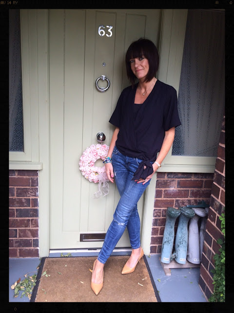 My Midlife Fashion, Cross Over Top, Wrap Over Top, Zara, Coco Bay, Hipanema, Skinny Jeans, Mango, Court Shoes, Tan Shoes