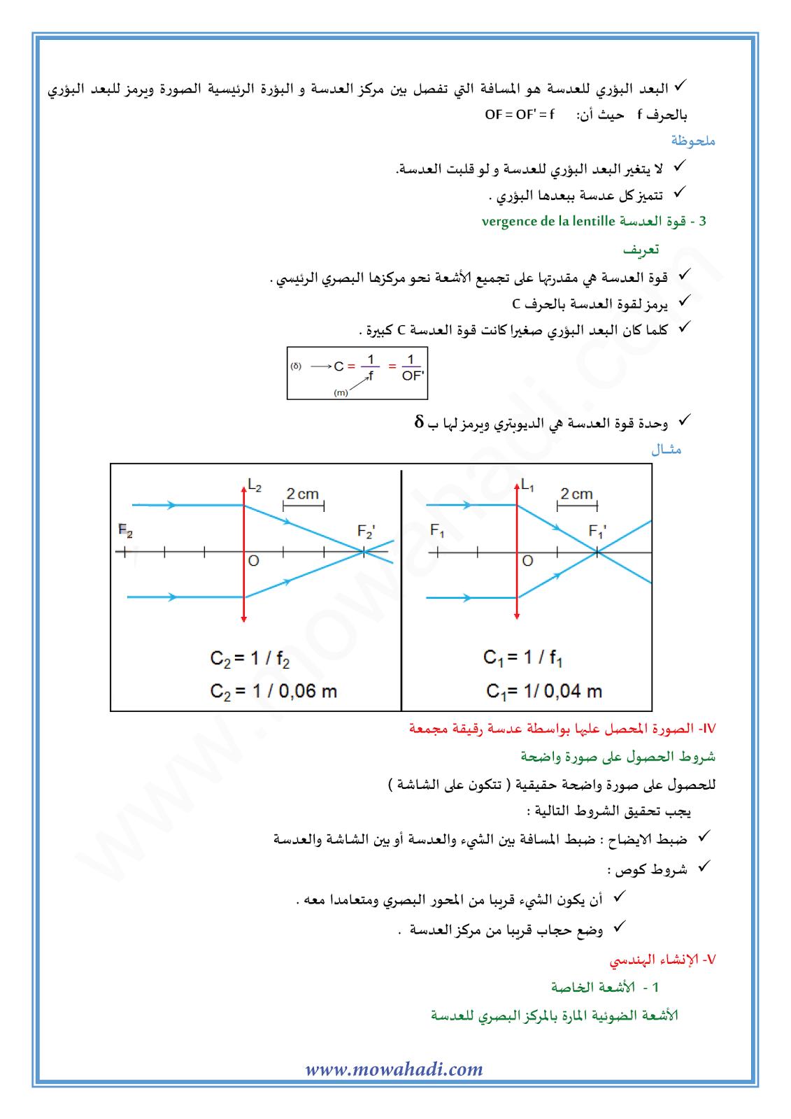 العدسات الرقيقة :الانشاء الهندسي للصورة-2