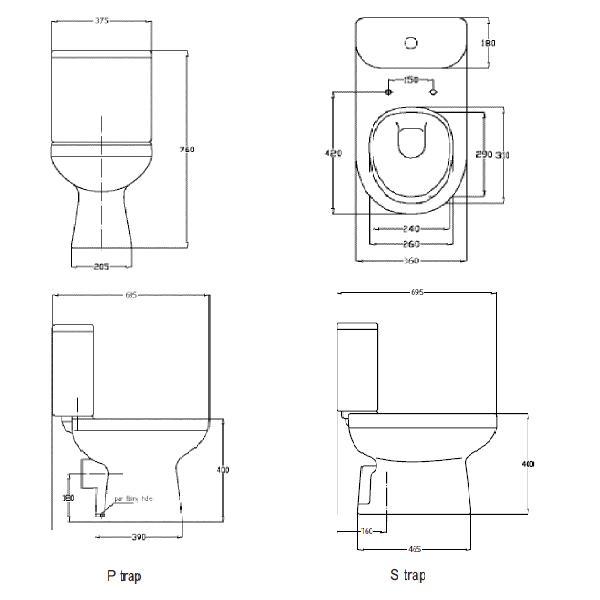 Modecor Toilet Suites Porcher Cygnet Square Close Coupled Toilet Suite