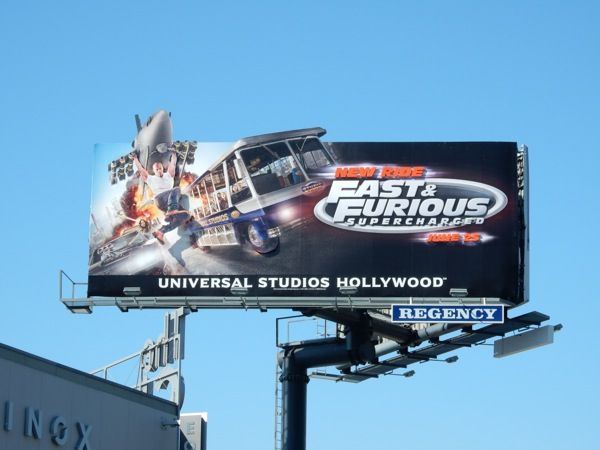 Universal Studios Fast Furious Supercharged ride billboard