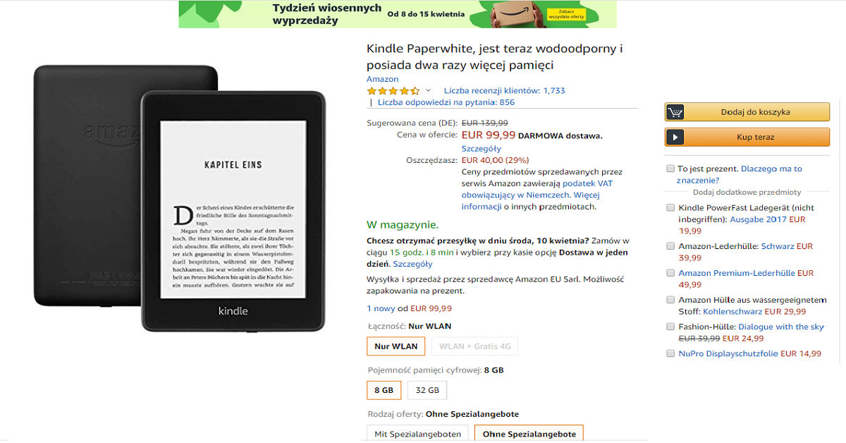 Kindle Paperwhite 4 (2018) przeceniony w Amazon.de o 40 euro
