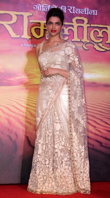 Deepika Padukone Cream Heavy Designer Saree