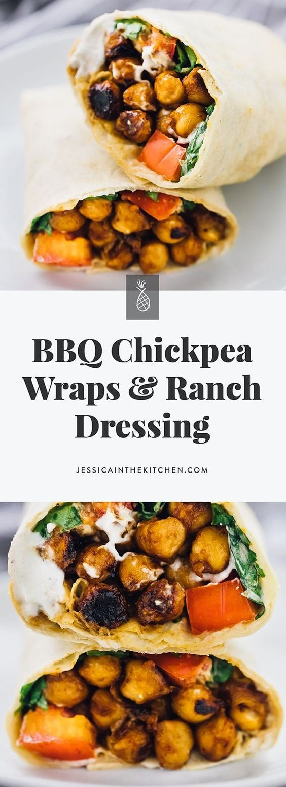 BBQ Chickpea Wraps With Ranch Dressing