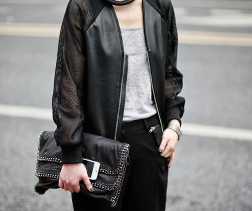 Mesh Leather Bomber Jacket Black Hello Parry Perth