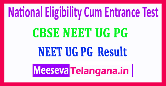 NEET 2018 PG UG Result National Eligibility Cum Entrance Test 2018 Result Download