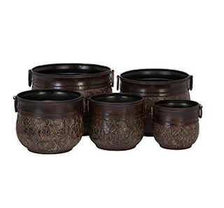Brown Metal Planters - Set of 5