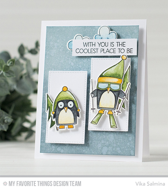 Handmade card from Vika Salmina featuring Chill Wishes and Sweet Sloths stamp sets and Die-namics, and Pierced Rectangle STAX Die-namics #mftstamps