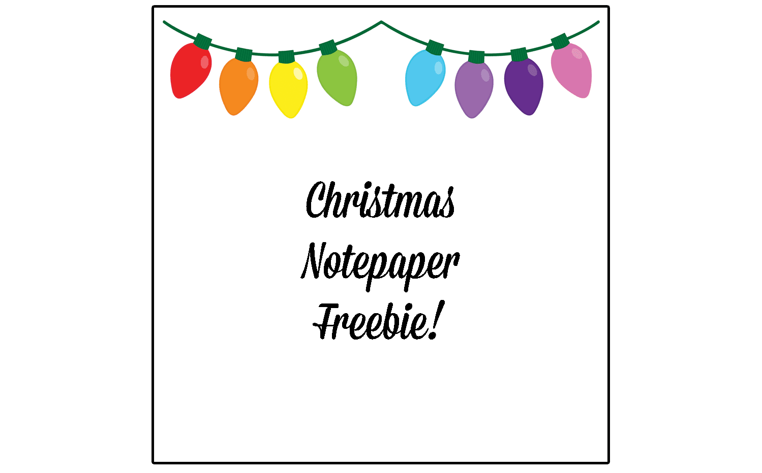 Christmas Clip Art: Christmas Lights Freebie. You can grab a pretty note paper printable (letter-size) with a colorful topping of Christmas lights. #Christmas #gradeonederful #christmasprintables #christmasclipart