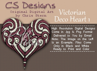 Victorian Deco Art Nouveau digital stamp design
