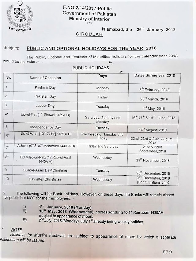 PUBLIC AND OPTIONAL HOLIDAYS FOR THE CALENDAR YEAR 2018 PAKISTAN
