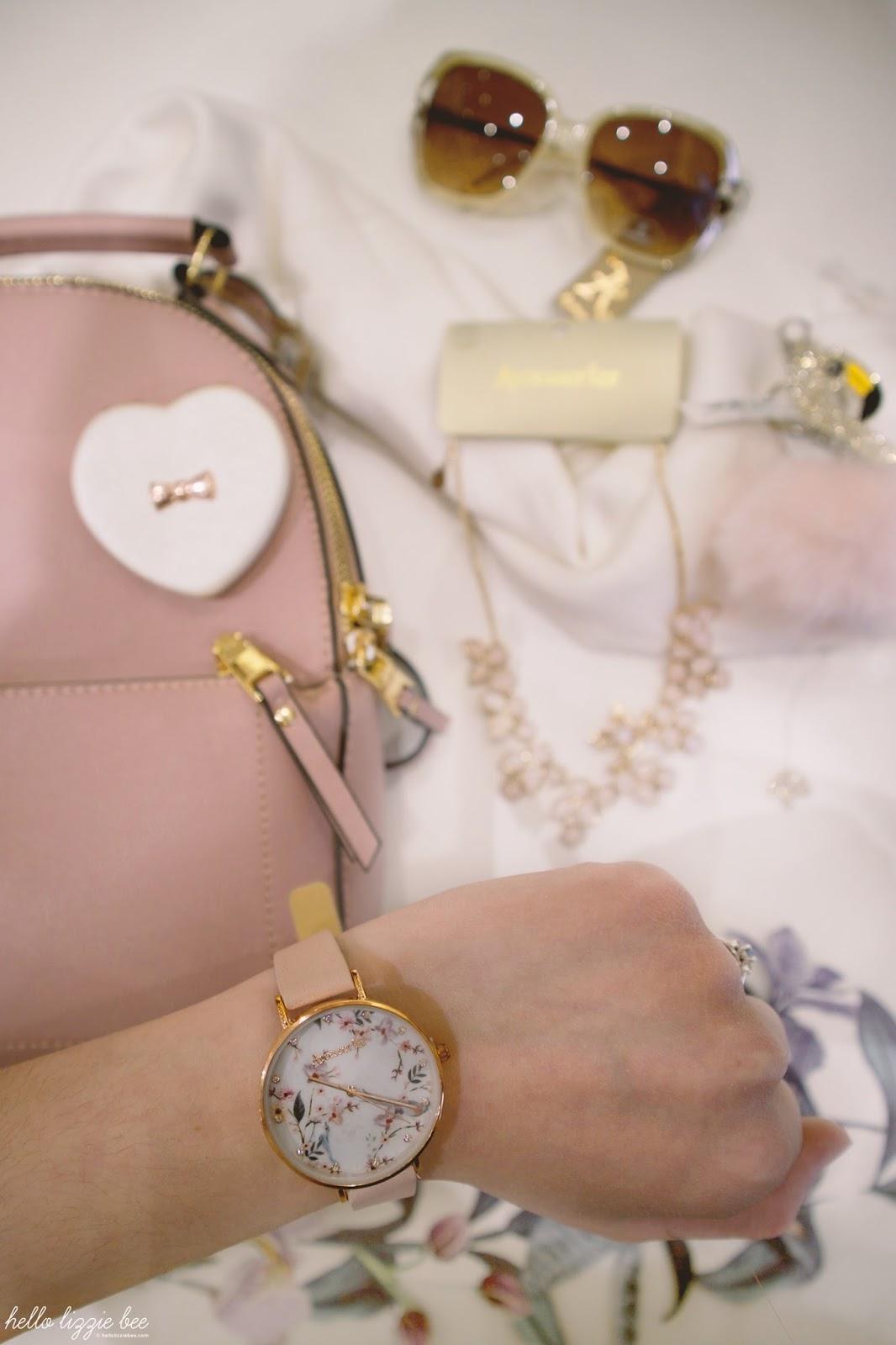 spring accessories, flatlay, accessorize