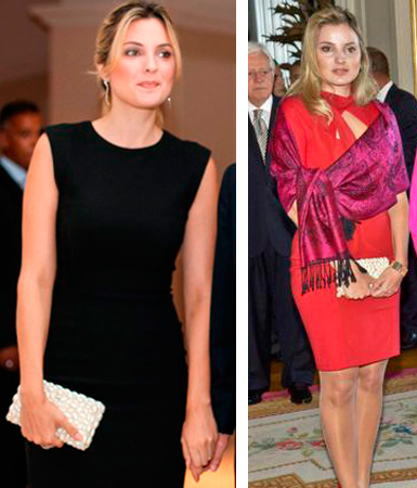 montagem Marcela em dois momentos diferentes com um vestido preto e outra com um vestido vermelho com chale rosa